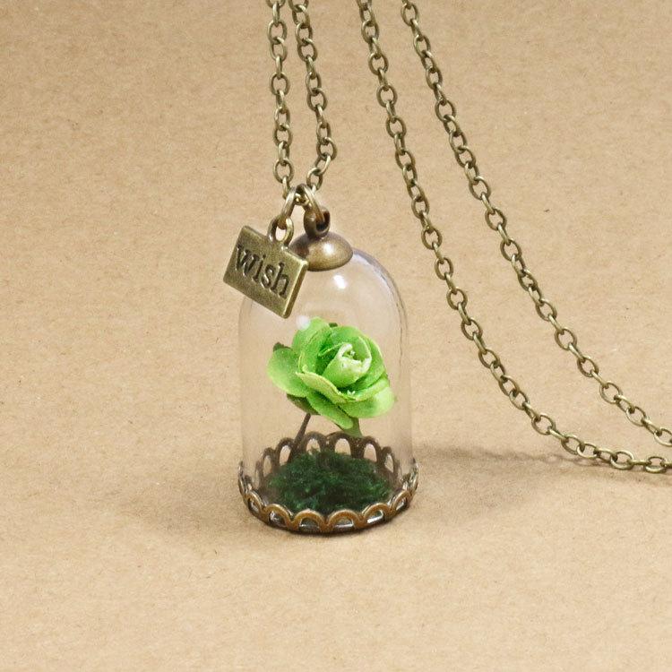 HTB1nj0FQFXXXXXQXpXXq6xXFXXXR - 1PC jewelry Beauty and the Beast Necklace Wish Rose Flower in Glasses Pendant Necklace PTC 198
