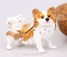 Papillon Dog Figurine Bejeweled Czech Rhinestone Enamel Trinket Hinged Gift Box Jewelled