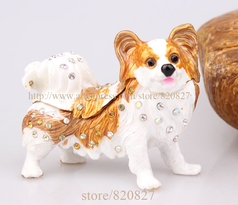 Papillon Dog Figurine Papillon Dog Bejeweled Czech Rhinestone Enamel Trinket Hinged Gift Box Papillon Jewelled Trinket Box