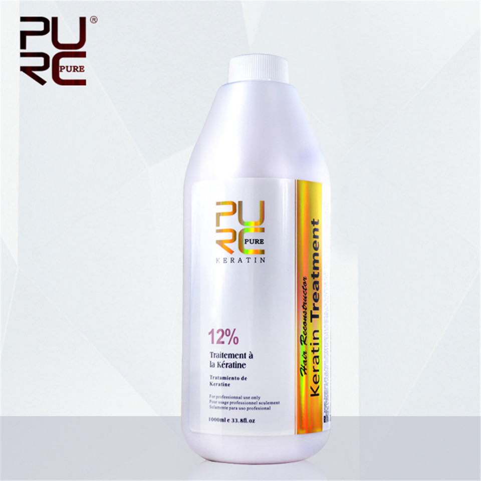 PURC 12% Formaldehyde Brazilian Keratin Hair Treatment 1000ml Deep Repair Damaged Hair Straightener Hair Care and Hair Mask d angello morocco argan oil scalp for frizzy dry hair keratin repair treatment hair care keratin hair split ends conditioner