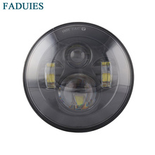 """FADUIES 1pcs Black 7"""" 40W LED Headlight For Harley Motorcycle H4 Hi&Low Beam Front Driving Headlamp 7″ Car Styling lights"""