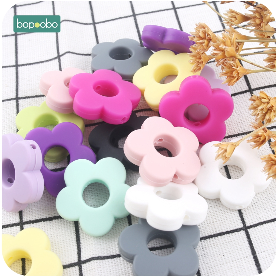Bopoobo 5pc Silicone Beads Flower Holes Silicone Flower Small 2.5cm DIY Accessories Baby Teething Beads Diy Beads Baby Teether