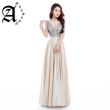 Ameision New Sexy Beads Bodice Open Back A Line Long Evening Dress 2019 Party Elegant V-neck strapless solid lace Prom Gown