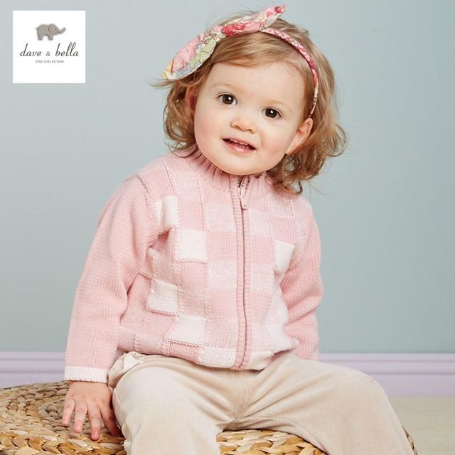 DB2337 de dave bella otoño primavera chicas rosa cardigan niño suéter bebé ropa infantil niños de la rebeca de los suéteres