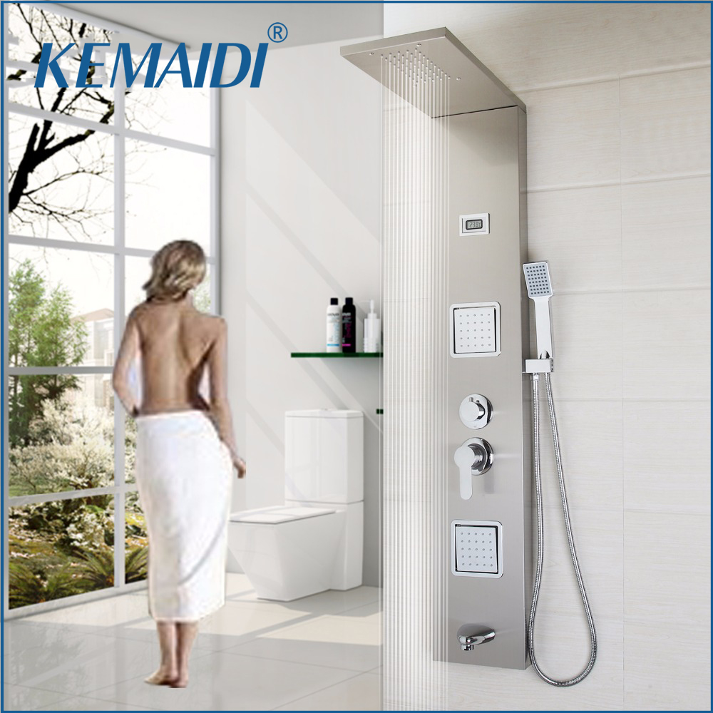 KEMAIDI Wall Mounted Shower Panel Faucet Rainfall Waterfall 3 Part Body Massage Single Handle Stainless Steel Bath Shower ColumnKEMAIDI Wall Mounted Shower Panel Faucet Rainfall Waterfall 3 Part Body Massage Single Handle Stainless Steel Bath Shower Column