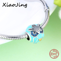 New Style 925 Sterling Silver Enamel Owl Charms Beads With Clear CZ Fit Original Pandora Bracelets