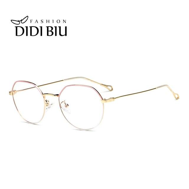 8cee17e102b DIDI Fashion Women Retro Round Ultralight Eyeglasses Men Thin Metal Optical Glasses  Frame Italian Eyewear Brands Designer UN973