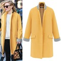 2015 Autumn/Winter Women Wool Coat Jacket Ladies Long Yellow/Royal Blue Winter Coats Cashmere Trench Overcoat Outerwear W062