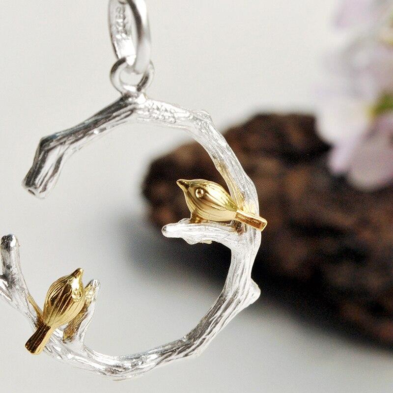 اللوتس متعة لحظة ريال 925 فضة الطبيعية الأصلية اليدوية الأزياء والمجوهرات الطيور على فرع مجموعة مجوهرات للنساء بيجو-في أطقم المجوهرات من الإكسسوارات والجواهر على  مجموعة 3