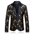 2016 New Crane Printed Men Blazers Fashion Casual Designer Brand Animal Printing Costume Homme T0074