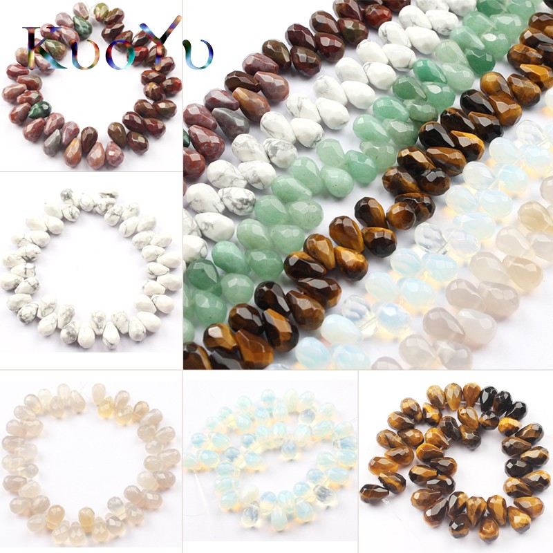8x12mm Natural Aventurine Agates Howlite Stone Beads Faceted Water Drop Shape Loose Spacer Bead For Jewelry Making DIY Bracelet