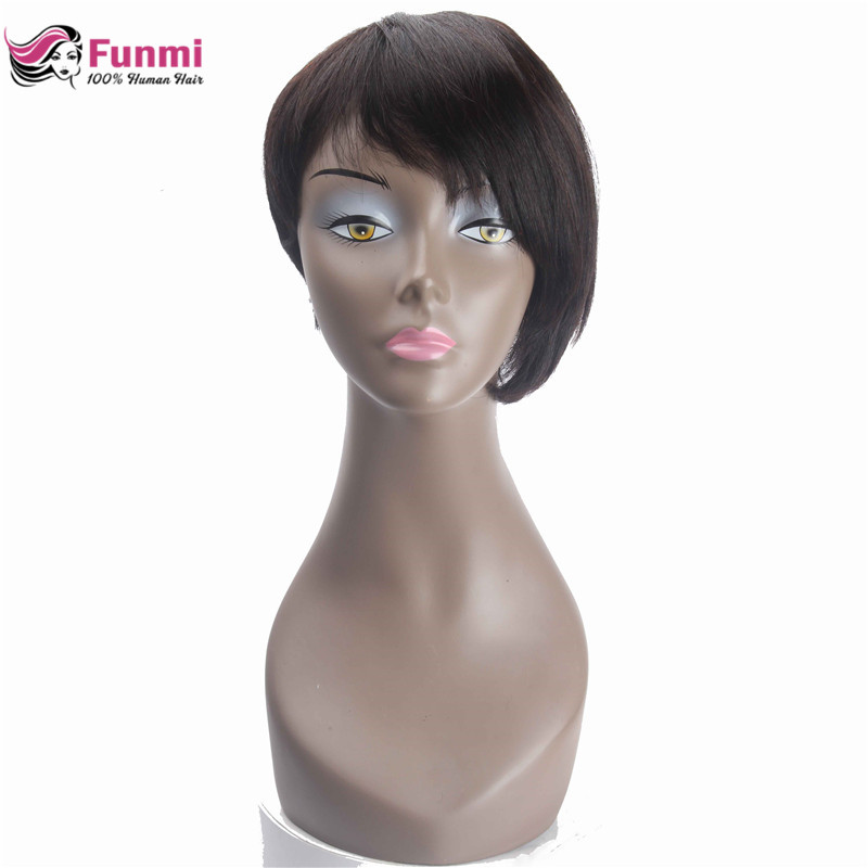 Funmi Short Human Hair Wigs For Black Women Brazilian Human Hair Wig Natural Black Brown Non Remy Short Straight Bob Hair Wig