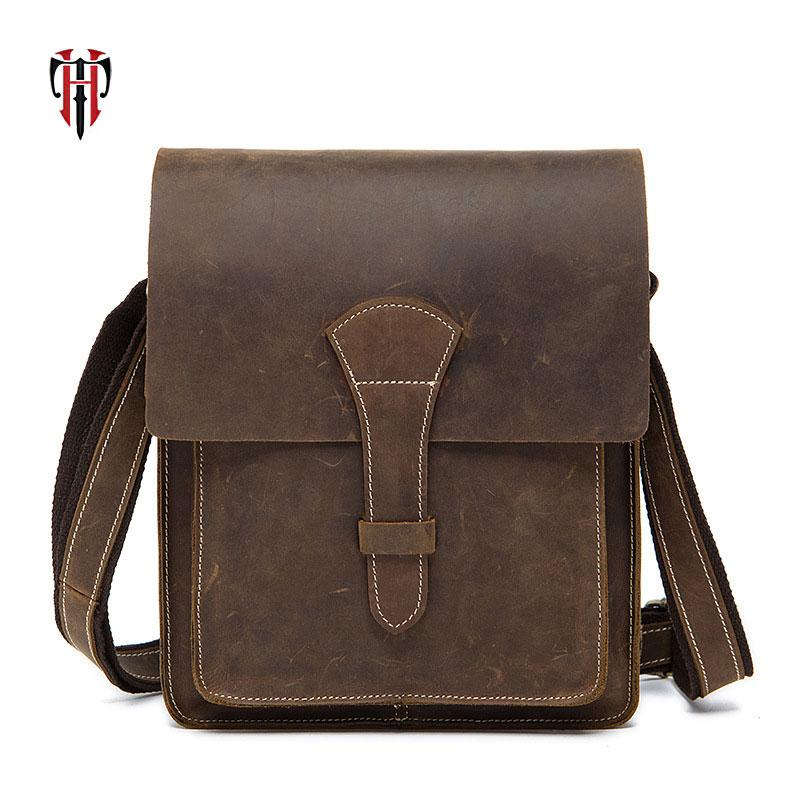 купить TIANHOO cow leather handle bags men bag crazy horse genuine leather 2018 fake designer handbags crossbody messenger bag for man по цене 3535.19 рублей
