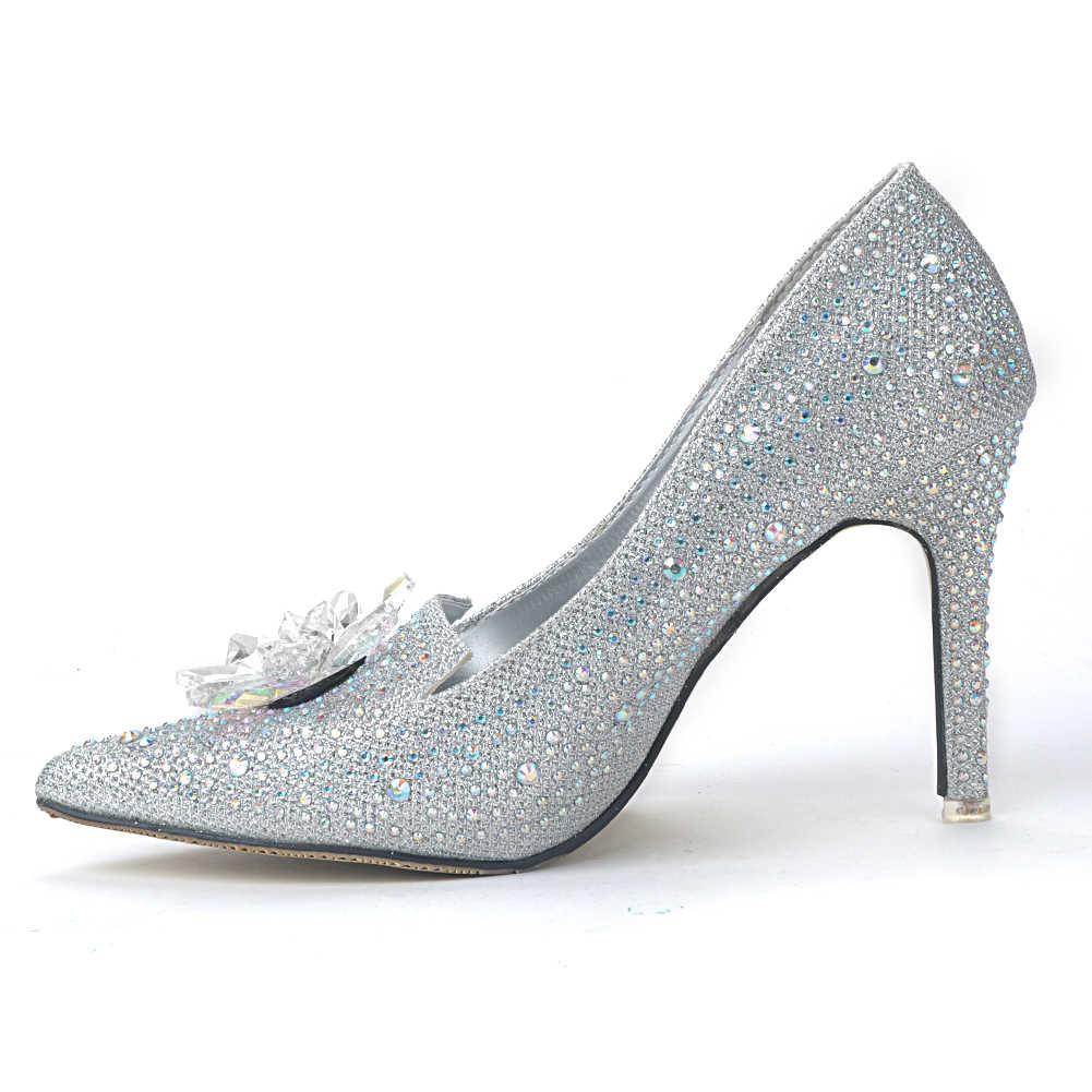 2019 модные роскошные женские свадебные туфли на высоком каблуке с острым носком