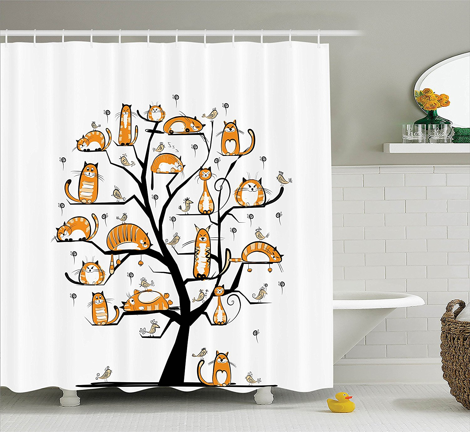 WARM TOUR Cat Family Tree With Birds Shower Curtain Bathroom Products Creative Polyester Bath 72X72 In Curtains From Home