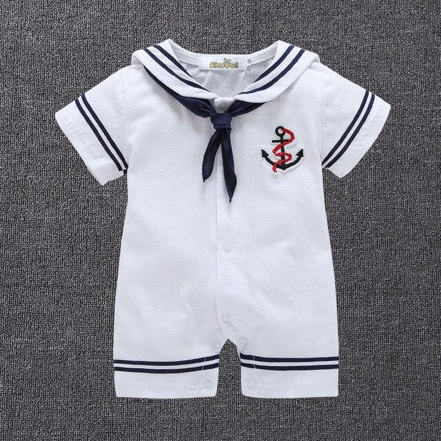 Estate Del Bambino Delle Ragazze Dei Ragazzi Body e Tutine Vestito Da  Marinaio Disegno Bambino Appena 4797858e413