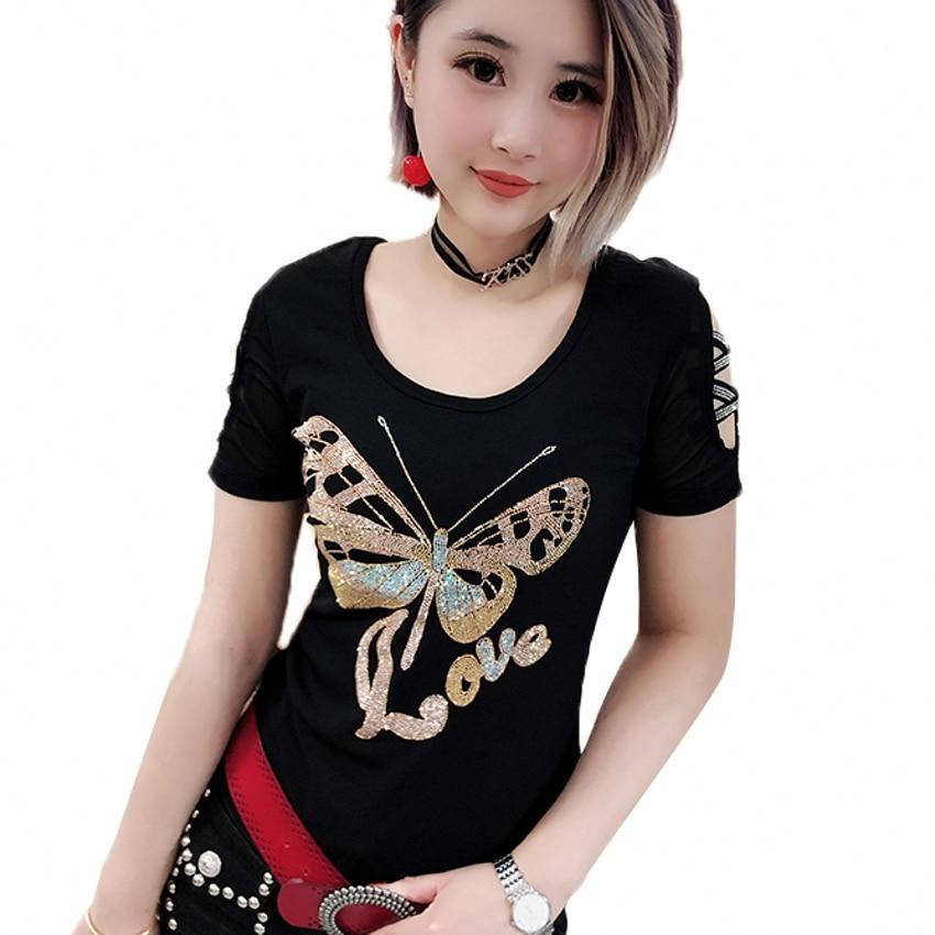 Diamonds Butterfly Tshirt 2019 New Spring Summer Women O-Neck Hollow Out Short Sleeve Top Shirt Clothes Streetwear Black T93706