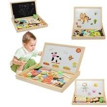 Puzzle magnétique, planche d'écriture à dessin Double chevalet pour enfants, jouets en bois, croquis, cadeaux, développement de l'intelligence des enfants