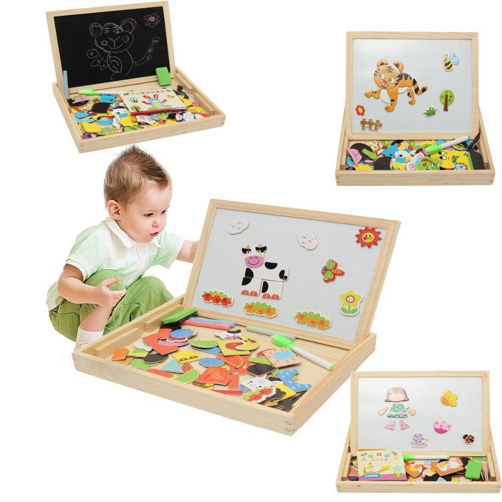 Analytisch Tekening Schrijfbord Magnetische Puzzel Dubbele Schildersezel Kids Houten Speelgoed Schetsblok Geschenken Kinderen Intelligence Onderwijs Ontwikkeling
