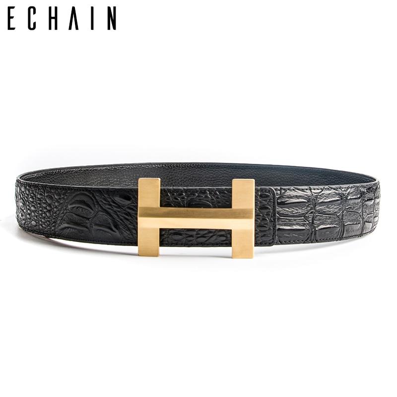 ECHAIN Solid Brass Luxury H Brand Designer Crocodile Belts Men High Quality Women Punk Genuine Real
