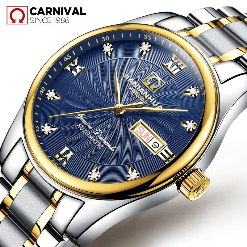 2017 CARNIVAL Diamond Scale Classic Mechanical Men Watch TopBrand Luxury Gold Bezel Steel Waterproof Business Casual Wrist Watch