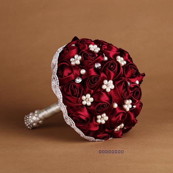 2017 dama de Honor Nupcial Ramo De La Boda Barato Por Encargo de Lujo Crystal Borgoña/Vino Tinto Artificial Rose Flores Ramos de Novia