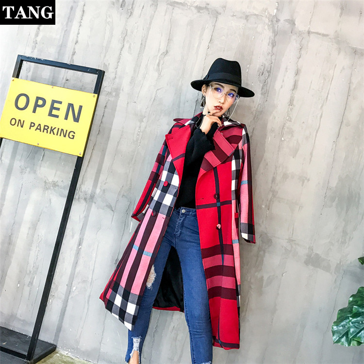 Tang 2019 New Spring   Trench   coat Plaid Fashion Double Breasted High quality Long Coats Casual Autumn Windbreaker Outerwear