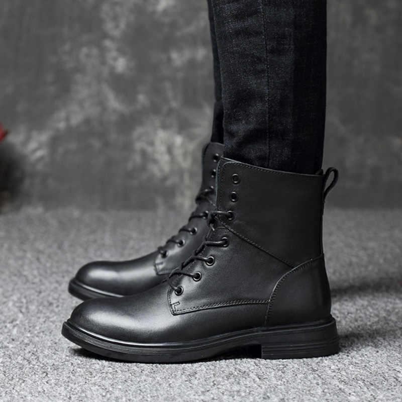 REETENE Hakiki Deri Erkek Botları Kış Erkek Botları Rahat Sıcak Kürk Erkek Botları Moda Kar Erkek Botları Sıcak Ayakkabı