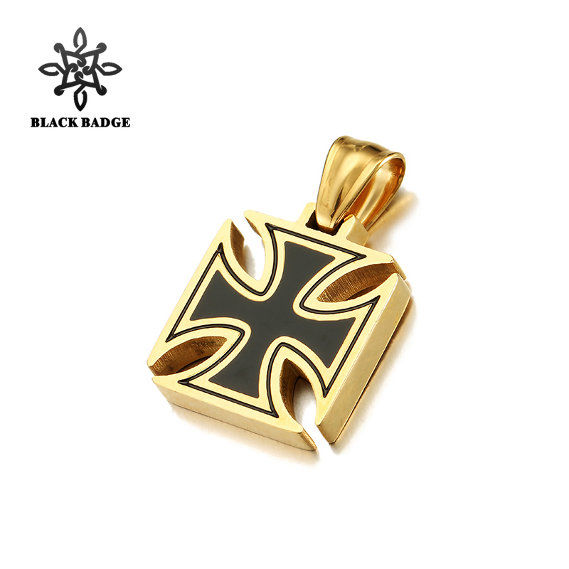 Knights Templar Iron Cross Pendant 316L Stainless Steel Gold/Silver Necklace Cross Charm Hip Hop Titanium Stainless Jewelry