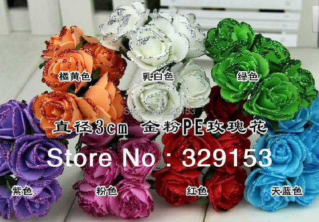 Dia2.5-3.0cm 72pcs/bag  PE artificial rose flower and shinning  glitter /Wedding flower/ ornament foam flower