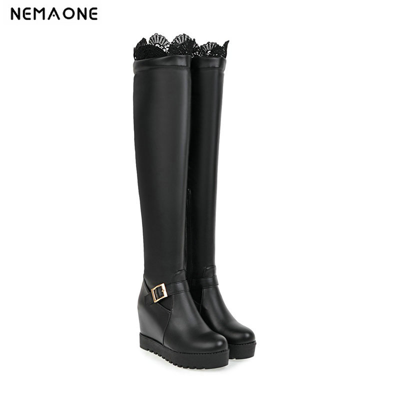 NEMAONE Sexy women over the knee boots height increasing high heels platform round toe ladies boots lace winter shoes woman цены онлайн