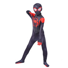 New Kids Spider-Man Into the Spider-Verse Miles Morales Cosplay Costume Zentai Spiderman Pattern Bodysuit Suit Jumpsuits