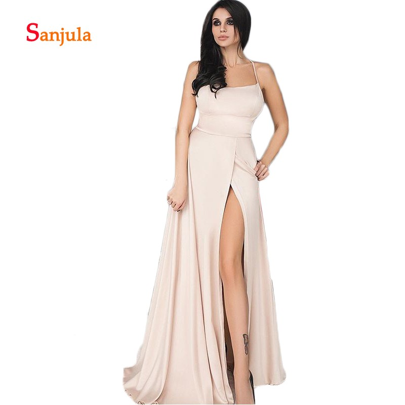 Nude Satin A-Line   Bridesmaid     Dresses   2019 Scoop Leg Slit Prom Party   Dresses   Long Back Cross Maid of Honor Gowns D381