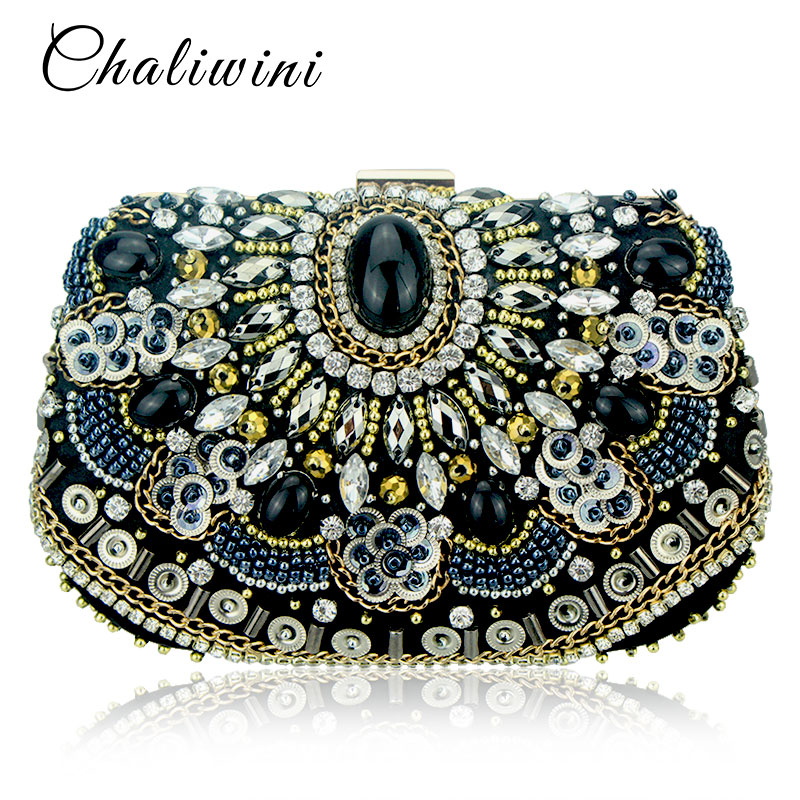Vintage Embroidery Women  Chain Accessory  Black Clutches Party Wedding Evening Bags One Side Diamonds Purse Beaded  Clutch Bags