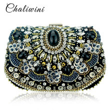 Vintage Embroidery Women Handbags Beaded Chain Accessory Metal Day Clutches Party Wedding Evening Bags One Side Diamonds Purse lace wedding women handbags diamonds metal day clutches purse evening bags messenger chain shoulder handbags