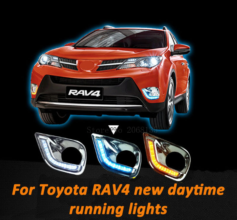 For Toyota RAV4 LED DRL High brightness guide LED DRL led fog lamps daytime running lights White yellow turning to night Blu-ray