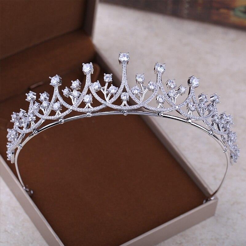 Trendy Korean Style Tiara Headband Clear AAA Cubic Zirconia Princess Coronet Headdress Bride Wedding Headpiece Crown Jewelry New маленькая сумочка korean style 2015 crown 0155