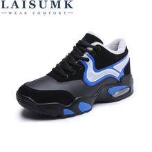 2019 LAISUMK Men Shoes New Fashion Casual Lace-up Warm Brand Winter Mixed Color High Top Flat with Mens