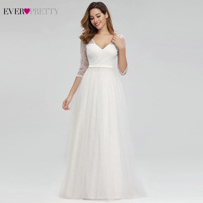 Ever Pretty Elegant Lace Wedding Dresses V-Neck A-Line Zipper Sexy White Formal Bride Dresses EP00806WH Vestidos De Novia 2019