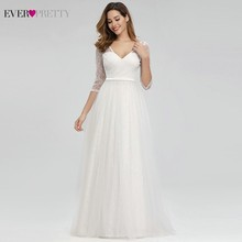 Hiç Pretty zarif dantel gelinlik v yaka A Line fermuar seksi beyaz resmi gelin elbiseler EP00806WH Vestidos De Novia 2020