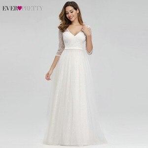 Image 1 - Ooit Mooie Elegante Kant Trouwjurken V hals A lijn Rits Sexy Witte Formele Bruid Jurken EP00806WH Vestidos De Novia 2020