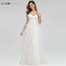 אי פעם די אלגנטית תחרה חתונה שמלות V צוואר אונליין רוכסן סקסי לבן פורמליות הכלה שמלות EP00806WH Vestidos דה Novia 2020