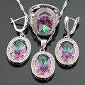Multicolor Arco Iris de Cristal de Color Plata Sistemas de La Joyería Nupcial Para Las Mujeres Pendientes/Collar/Pendiente/Anillo de Caja de Regalo Libre hecho en China