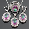 Multicolor Rainbow Crystal Silver Color Bridal Jewelry Sets For Women Earrings/Necklace/Pendant/Ring Free Gift Box Made in China