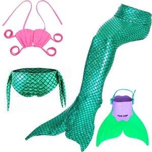 Image 1 - 4 Pcs/24 Colors Swimming Mermaid Tails with Fin Costume Girls Swimsuit Swimwear Kids Little Children Mermaid Bikini Suit