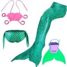 Bañador de sirena con aleta para niñas, traje de baño de sirena, 4 Uds./24 colores