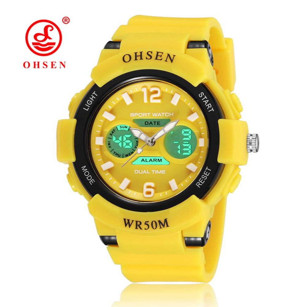 NEW OHSEN Fashion Digital Kids Girls Wristwatch Yellow Rubber Strap Alarm Date LCD 50M Swim Children
