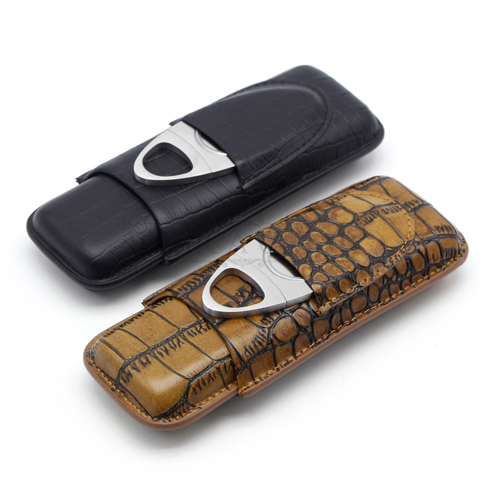 GALINER Crocodile Grain Genuine Leather Cigar Case Portable 2 Tube Cigars Humidor Travel Cases With Metal Cigar Cutter Gift Box