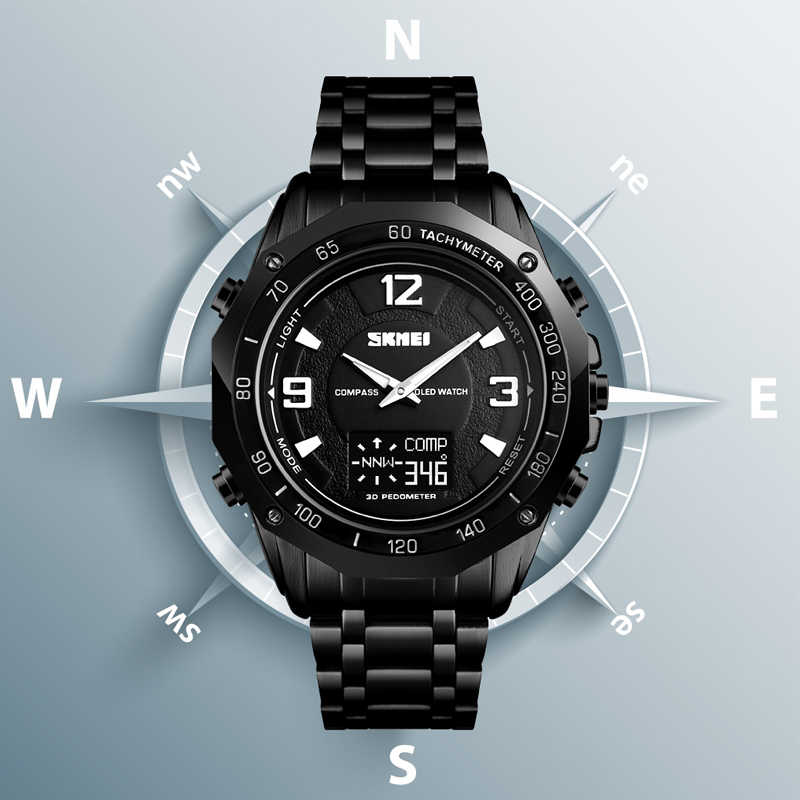 Men Calorie Sport Wristwatch Luxury Compass Thermometer Digital Watch Fashion Men's Stopwatch Pedometer Military Watch Bracelet