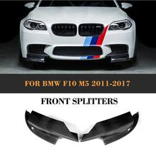 Carbon Fiber Car Racing Front Bumper Lip Splitters spoiler Apron for BMW F10 M5 Sedan 4 Door Only 2011  - 2017 Grey FRP 5 series carbon fiber rear bumper lip spoiler diffuser for bmw f10 m sport sedan 2012 2016 d style grey frp dual exhaust two out